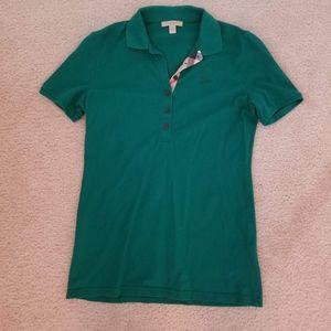 Burberry Check Trim Cotton Pique Polo Shirt